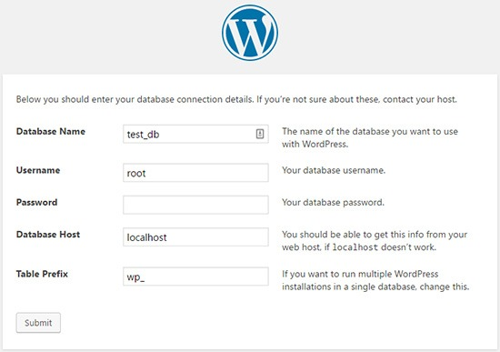 wordpress database config file